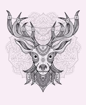 만다라 장식 사슴 머리.