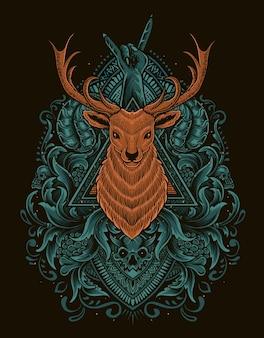 Illustration deer head with vintage engraving ornament