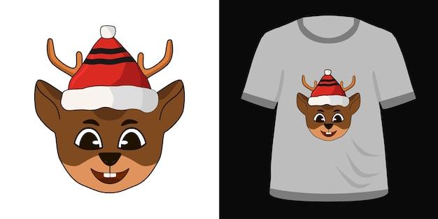 Illustration deer santa hat for t shirt design