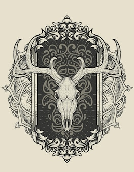 골동품 장식 그림 사슴 두개골 머리