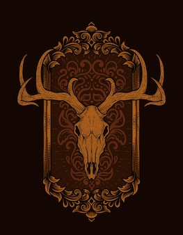 ヴィンテージ彫刻飾りとイラスト鹿の頭蓋骨