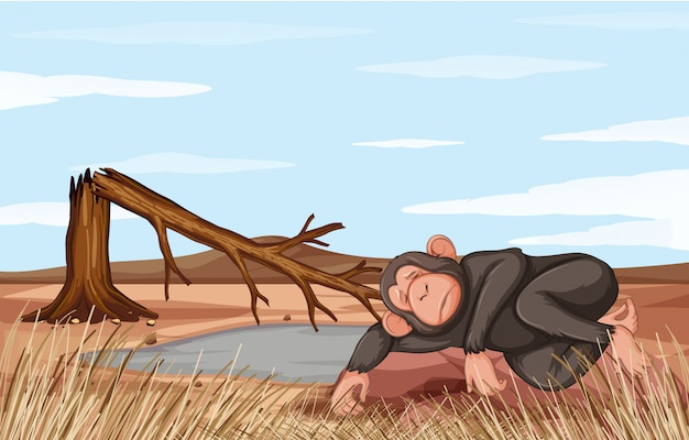 Illustration deforestation scene with dying monkey