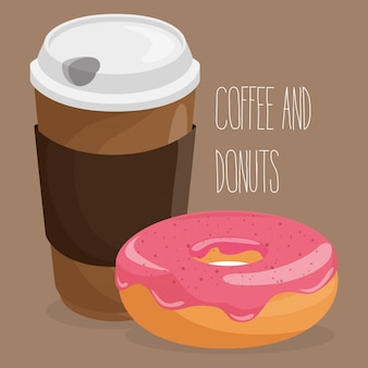 Illustration of delicious coffee plastic pot and donut Free Vector