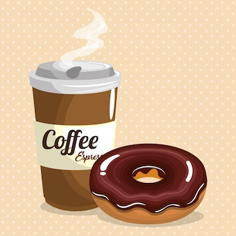 Illustration of delicious coffee plastic pot and donut