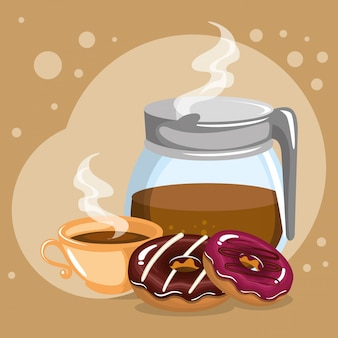 Illustration of delicious coffee in teapot and donuts