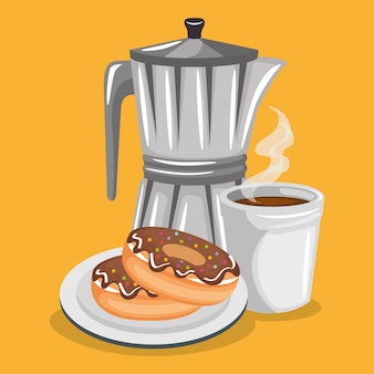 Illustrazione di delizioso caffè in teiera e ciambelle