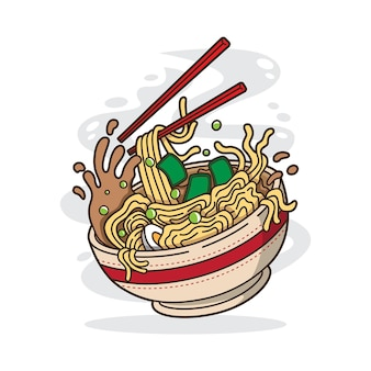 Illustration of delicious japanese ramen noodle on bowl with flat style