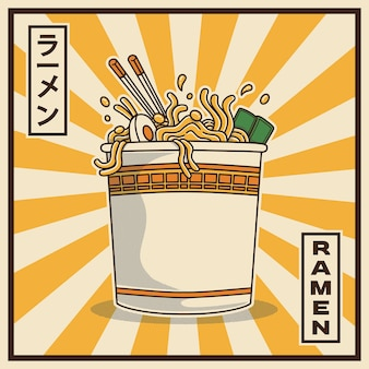 Illustration of delicious japanese ramen noodle on cup with vintage retro flat style