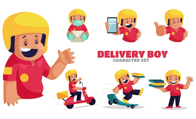 Illustration of delivery boy character set