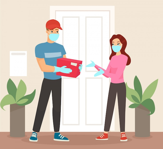 Illustration of delivery man in mask and medical gloves giving the package to woman in medickal mask. woman getting package from courier.