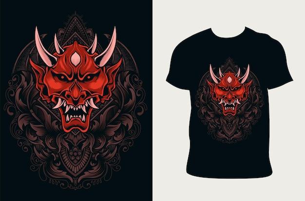 Иллюстрация маски демона со старинным гравировальным орнаментом на дизайне футболки
