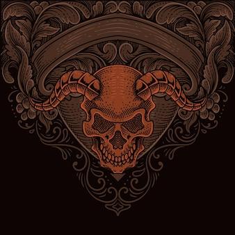 イラスト悪魔の頭蓋骨の頭とアンティークの彫刻飾り