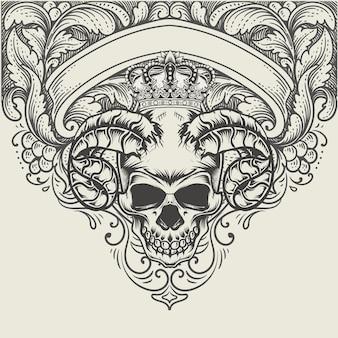 アンティークの彫刻飾りとイラストの悪魔の頭蓋骨の頭