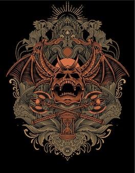 アンティークの彫刻飾りとイラストの悪魔の頭蓋骨 Premiumベクター