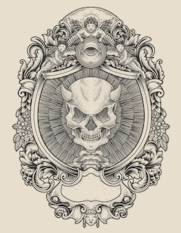 Иллюстрация черепа демона с гравировкой в стиле орнамента