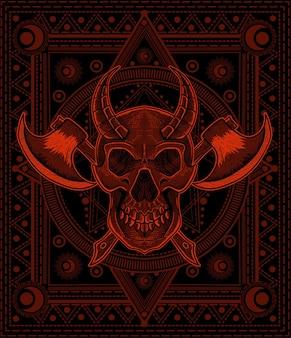 신성한 기하학 배경에 두 개의 도끼로 그림 악마 두개골