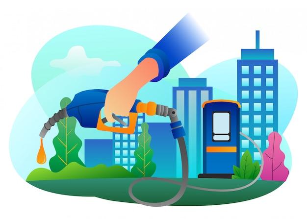 Иллюстрация истощения топлива после постоянного использования в столице.