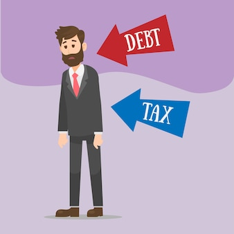 Illustration of depressed businessman with tax and debt