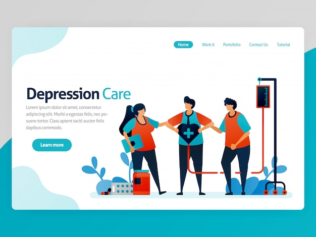 Illustration of depression care. friends support and awareness in treatment and health therapy. healing of mental disorders. vector cartoon for website homepage header landing page page template apps