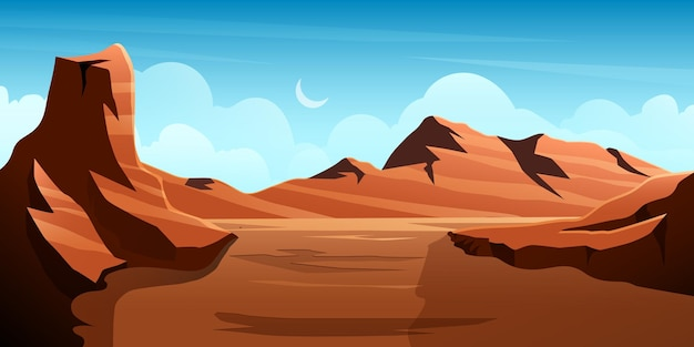 Illustration of desert valley with various rocky mountains and hills with moon clear sky