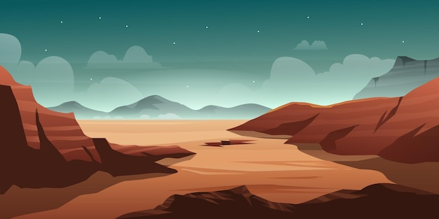 Illustration of desert with mountain hill in the night scene beautiful sky with star background