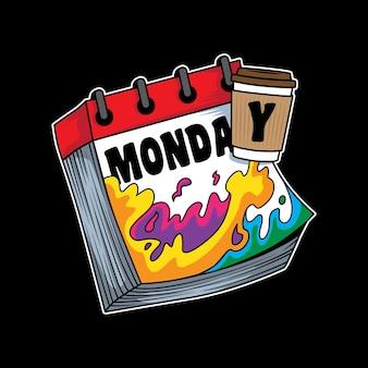 Иллюстрация дизайн кофе бустер настроения на понедельник юмор в плоском мультяшном стиле