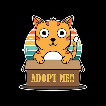 Illustration design of cute funny cat hold box sign adopt me in black background
