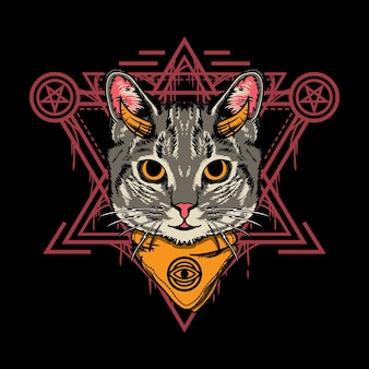 Illustration design of cute halloween cat with sacred geometry style in black background