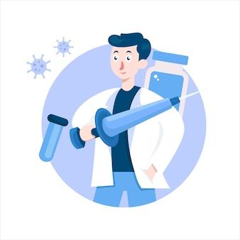 ワクチンを注射する準備ができているイラストデザインの医者