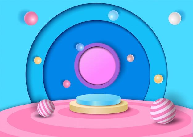 Дизайн иллюстрации для детей с фоном стиля 3d