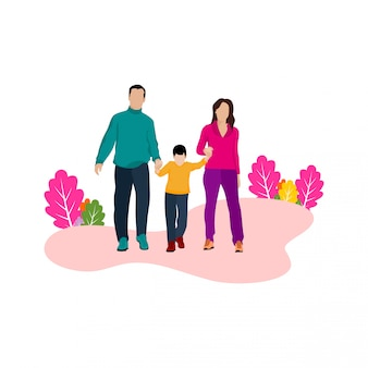 Illustration design happy family of father and mother children