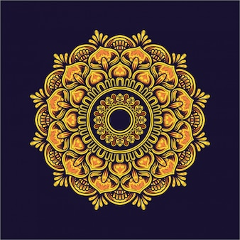 Illustration design of mandala golden