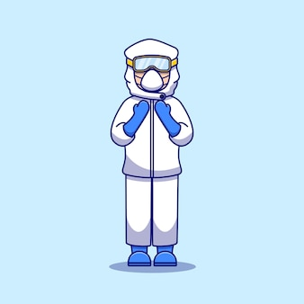 Illustration design of a nurse using personal protective equipment