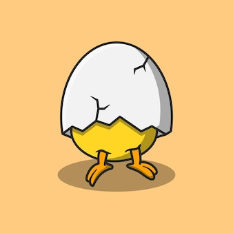 Дизайн иллюстрации: только что вылупившийся цыпленок, голова которого покрыта яичной скорлупой.