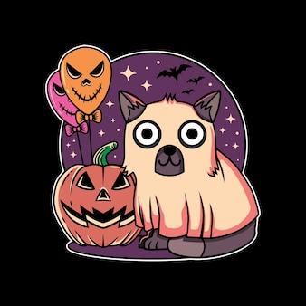 Дизайн иллюстрации милого кота, тыквы и фестиваля хэллоуина на воздушном шаре с рисованной в плоском стиле