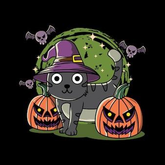 Дизайн иллюстрации милого кота, тыквы и летучей мыши на хэллоуинском фестивале с рисованной в плоском стиле