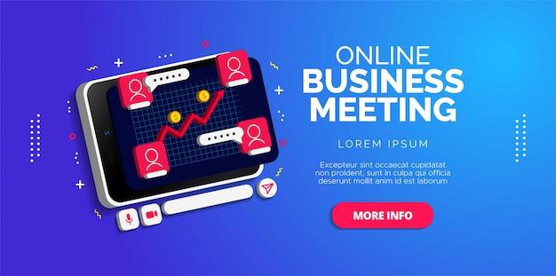 オンラインビジネス会議のイラストデザイン。