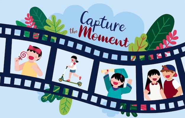 카메라로 순간을 포착하는 사진 작가 및 로고 요소의 일러스트레이션 디자인
