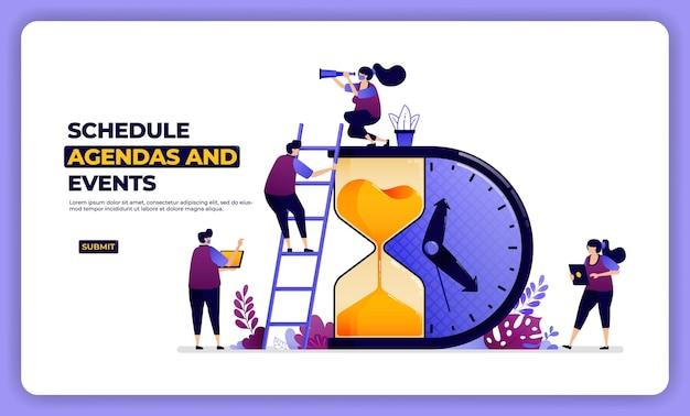 スケジュールの議題と効果のイラストデザイン。仕事と休日の管理。