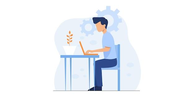ウェビナートレーニングとウェビナーのデザイン、オンラインビデオトレーニング、チュートリアルポッドキャスト、ビジネスコーチングのコンセプトによる自宅でのイラストデザインオンライン教育とeラーニング。作品イラスト