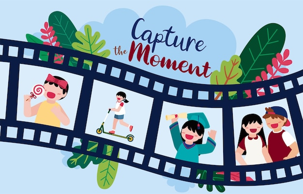 Illustration design of photographer and logo element with capture of the moment by camera