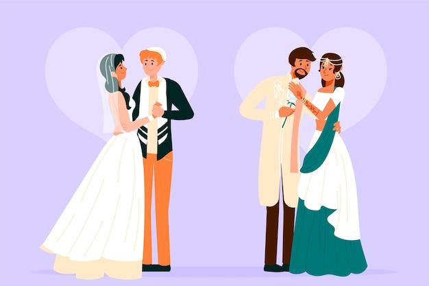 結婚式のカップルのイラストデザイン