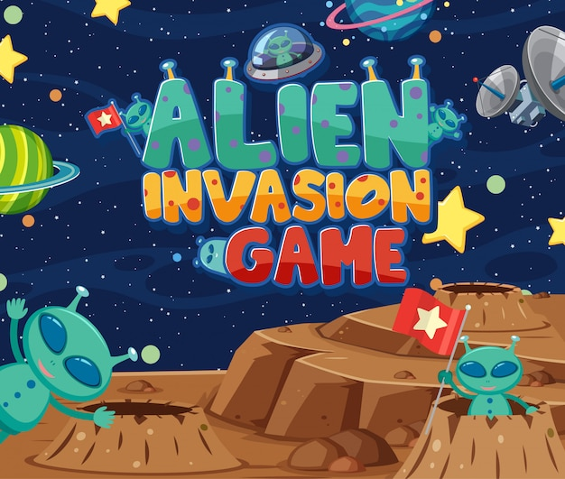 Дизайн иллюстрации с игрой слова нашествия чужеземца и много планет в космосе
