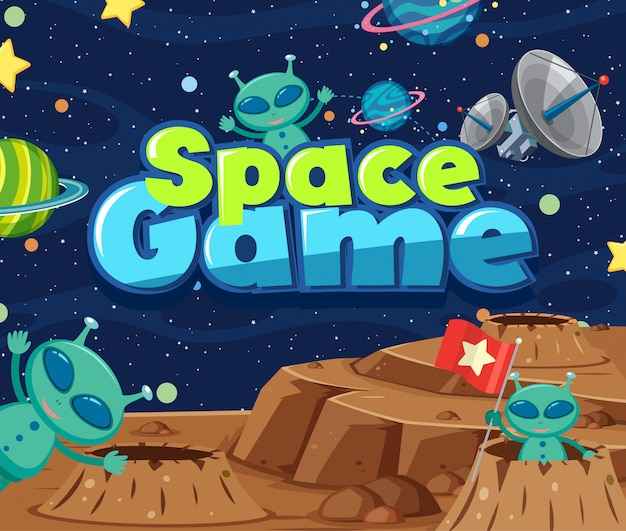 Illustration design with word space game and aliens in the space