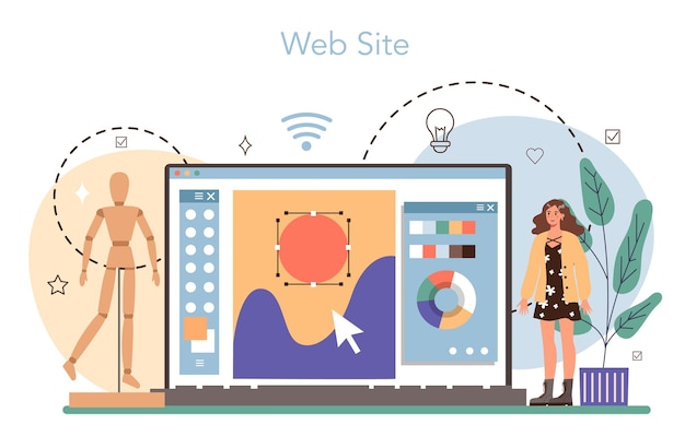 イラストデザイナーオンラインサービスまたはプラットフォームアーティストの絵を描く