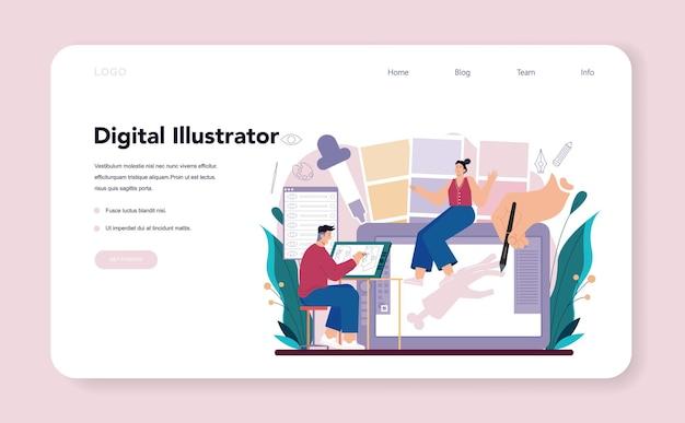 Веб-баннер дизайнера иллюстраций или целевая страница. художник рисует картинку для книг и журналов, цифровую иллюстрацию для веб-сайтов и рекламы. творческая профессия. плоские векторные иллюстрации