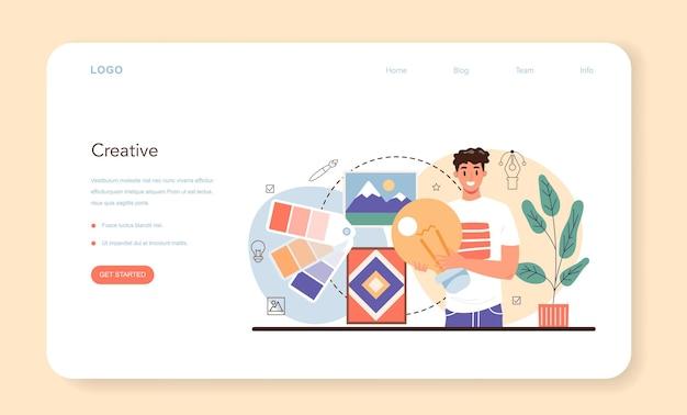 Дизайнер иллюстраций, веб-баннер или целевая страница, художник рисует картинку