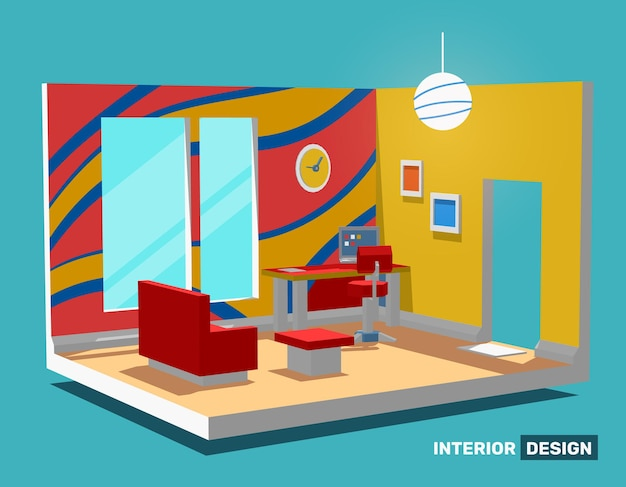 Illustration of detailed bright color side view decorative interior home office room