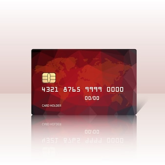 Illustration of detailed glossy red credit card isolated on light background. illustration.