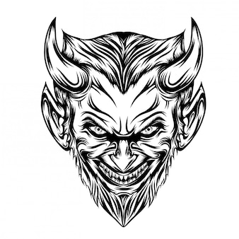 Illustration of devil head with long beard and scare smile